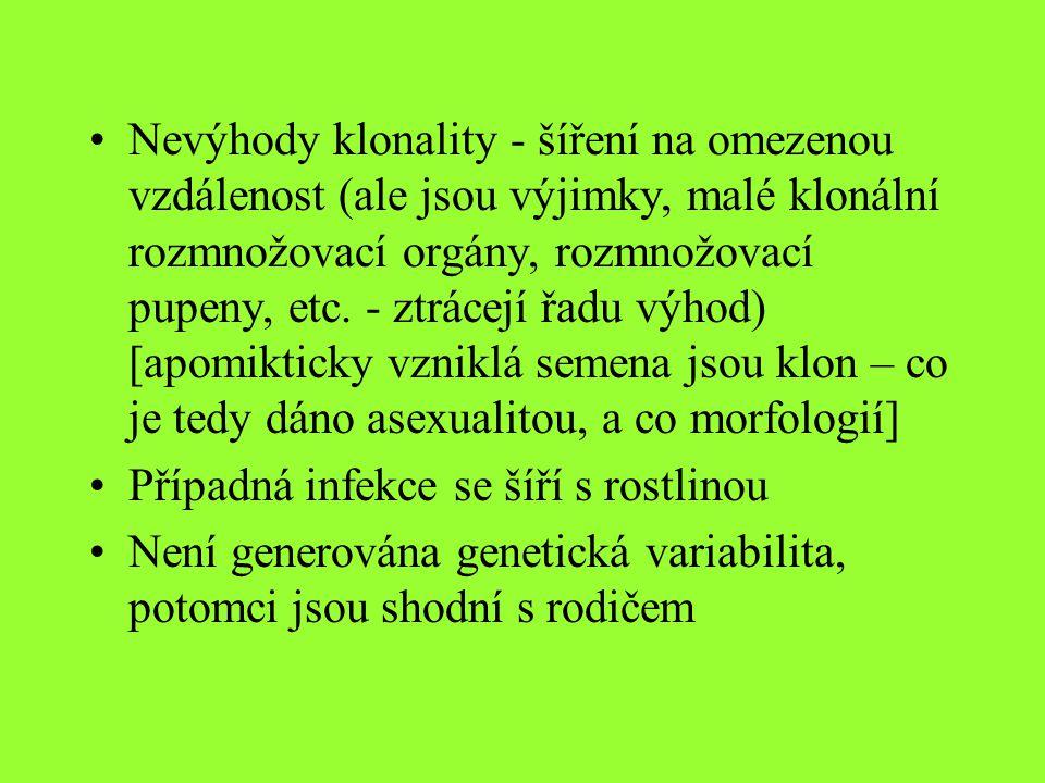 Nevýhody klonality - šíření na omezenou vzdálenost (ale jsou výjimky, malé klonální rozmnožovací orgány, rozmnožovací pupeny, etc. - ztrácejí řadu výhod) [apomikticky vzniklá semena jsou klon – co je tedy dáno asexualitou, a co morfologií]